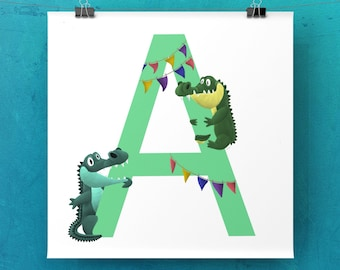 A is for Alligator - Digital Party Animals Print