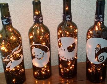 nightmare before christmas wine bottle lamp orange lights halloween halloween lights halloween party nightmare before christmas wedding