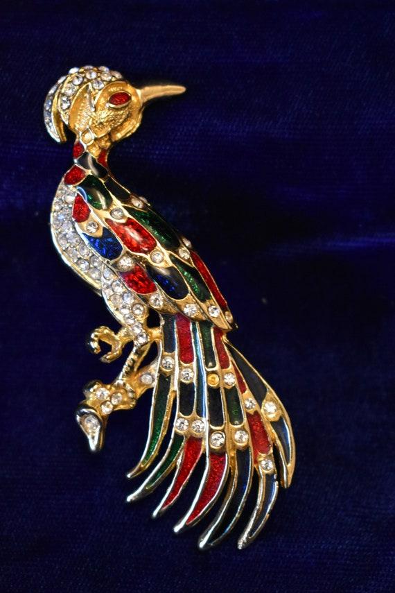 Vintage Peacock Pin Peacock Brooch Rinestone Peacock Gold Tone Brooch Gold Peacock Cloisonne Peacock Pin