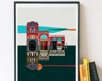 London Underground - The Ghost Tube Stations Illustrated poster print - Matte or Giclee Art Prints - Housewarming gifts - London Art Prints