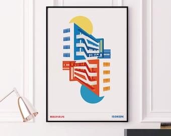 Isokon Building - London Bauhaus Poster Print.  Graphic poster, Giclee Art Prints. Wall Art, Bauhaus decor, Modernist Architecture