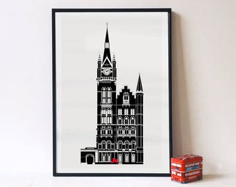 St. Pancras & The Piano with Sir Elton John. Illustrated Architecture prints of London, Matte or Giclee Art Prints in A3 A2 sizes. Wall Art.