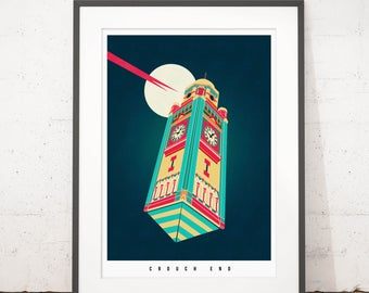The Crouch End Tardis Illustrated poster print - Giclee Art Prints - Housewarming Gifts - Gifts for architects - Prints of London