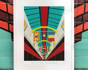 Brixton Village Poster - London Brixton Illustrated Art print. South London Prints - Gifts for Londoners - Housewarming Gifts