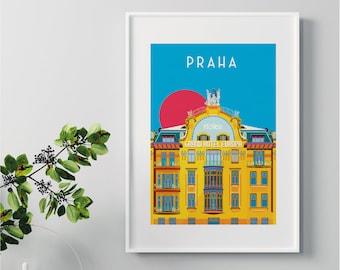 Prague Praha Illustrated Art print of Grand Hotel Europa. Travel Print, Home Decor, Architecture Art Prints. Housewarming gift, Gallery Wall