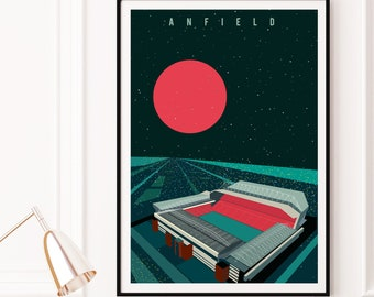 Liverpool FC Anfield by Night Art Print Poster, Liverpool Stadium Architecture Print - Matte, Giclee Art Prints - Gifts for football fans
