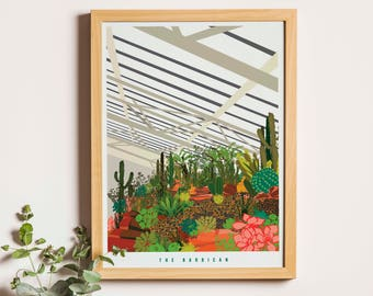 The Barbican Conservatory London Print -  Illustrated London poster - Matte and Giclee Art Prints in A3 or A2 sizes - Gifts for Londoners