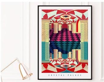 Crystal Palace London Illustrated Art Print. London Travel Poster. London Underground, London Subway. Wall Art, Art Prints of London