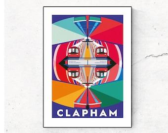 Clapham Kaleidoscope Illustrated Art Print. London Travel Poster. London Underground, Clapham London. Wall Art, Art Prints of London