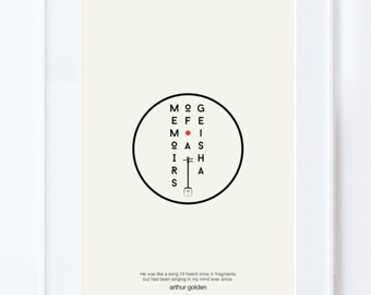 Memoirs of a Geisha :  Illustration typography poster. Matte and Giclee Art Prints in A3 or A2 sizes. Wall Art, Home Decor