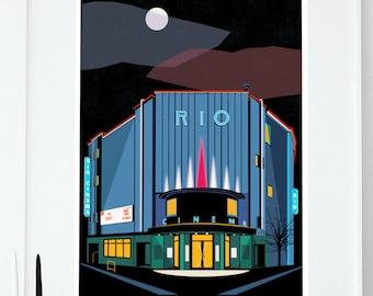 The Rio Cinema Poster - Art Deco London Illustrated Art print - Giclee Art Prints - Hackney Dalston Art Prints - London Art Prints