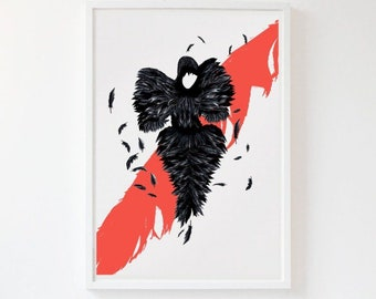 The Black Beauty: Alexander McQueen Illustration poster print. Matte and Giclee Art Prints in A3 or A2 sizes. Wall Art, London Prints