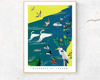 The Migrants of London Art Print, feat the Migratory Birds of Regents Park - Fine Art Giclee Prints - Gifts for Londoners