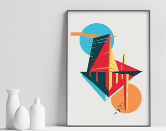 Tate Modern Architecture Art Print -  Illustrated Architectural London Poster - Matte, Giclee Art Prints - Gifts for Londoners
