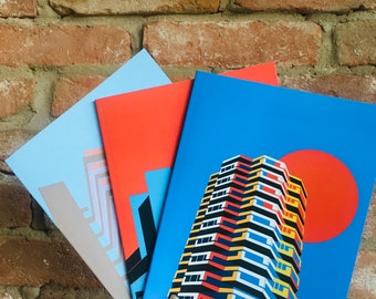 Brutalist London Light Notebooks or doodle books. Printed cover with blank pages inside. A5 size, 48 page Notebooks. London Architecture