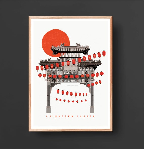 Chinatown London Art Print Illustrated Poster Fine