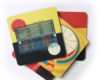 Museums of the World Coaster Gift Set. Set of 4 cork backed coasters featuring the Louvre, Pompidou Centre, Guggenheim Bilbao and New York