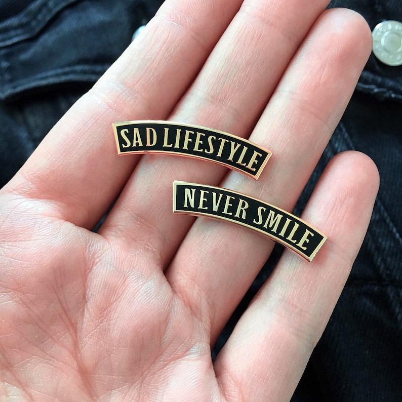 0ca387a1c949 Sad Lifestyle Never Smile Hard enamel pin set / Life Club / | Etsy