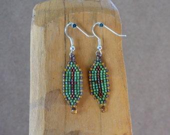Green and Brown Beaded Drop Earrings