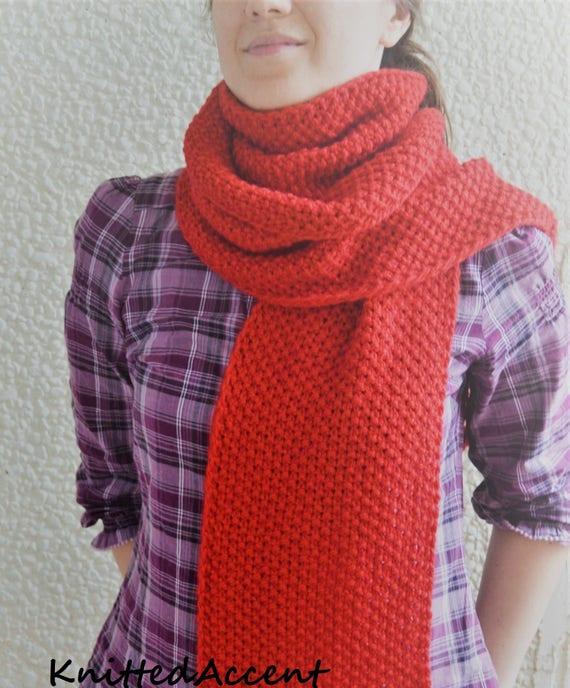 e74143709137 Longue écharpe, foulard rouge, écharpe unisexe, écharpe en laine, écharpe  en tricot, écharpe chaude, foulard homme, ...