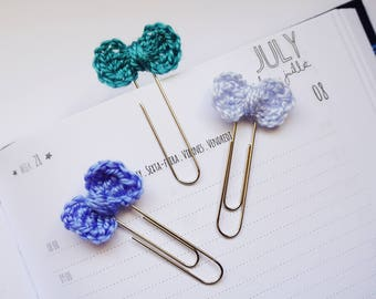 Crochet Mini Bow Planner Clip / Bookmark - Set of 3 - Baby blue, Royal blue, Teal | Stationery for Erin Condren, Filofax, Kikki K
