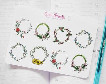 Flower Wreaths Planner Stickers | Stationery for Erin Condren, Filofax, Kikki K and scrapbooking