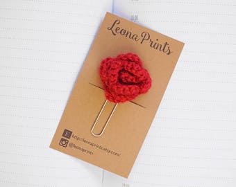 Crochet Rose Planner Clip / Bookmark - Dark Red | Stationery for Erin Condren, Filofax, Kikki K