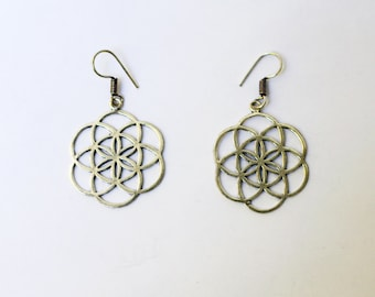 SEED OF LIFE earrings, sacred geometry, sacred geometry earrings, seed of life jewelry, alpaca silver, galactic jewelry, hippie