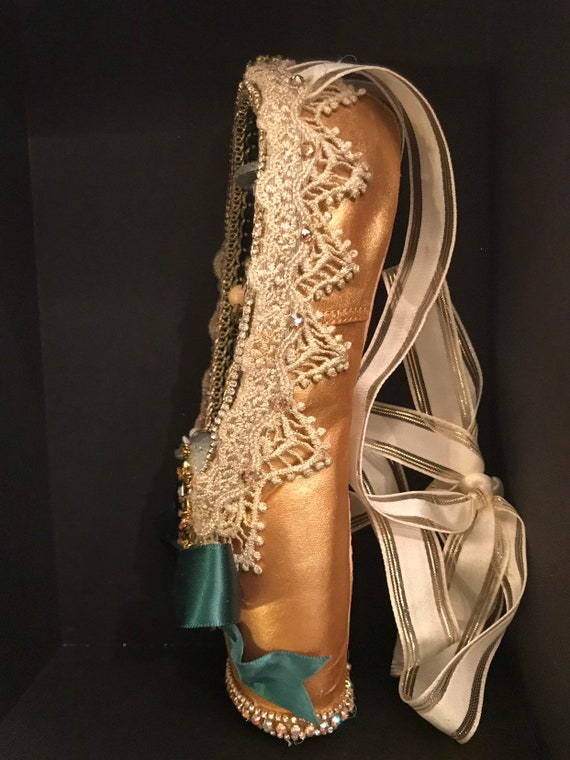 The \u201cJenny\u201d Red Party Scene Decorated Pointe Shoe