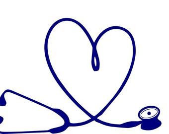 Stethoscope decal   Stethoscope heart   Nurse   Doctor   RN