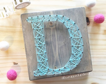 MADE TO ORDER - mini letter string art sign - initals