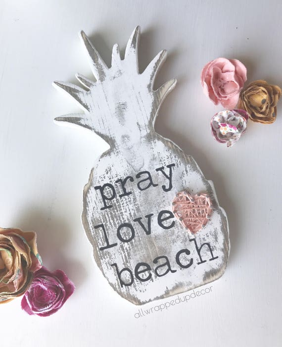Pineapple Wood Decor Pray Love Beach Cut Out Pineapple With String Art Heart Free Standing Rustic Decor String Art