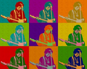 57161acc962b Jimi Hendrix Guitarist Music Psychedelic Rock Blues Guitar Pop Icon Andy  Warhol Pop Art Wall Art Print Free Domestic Shipping