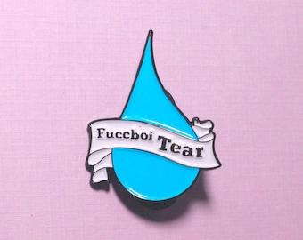 fuccboi tear, blue, enamel pin, enamel pins, pin badge, lapel pin, hat pin, hat pins, feminist pin, feminist gift, coworker gift