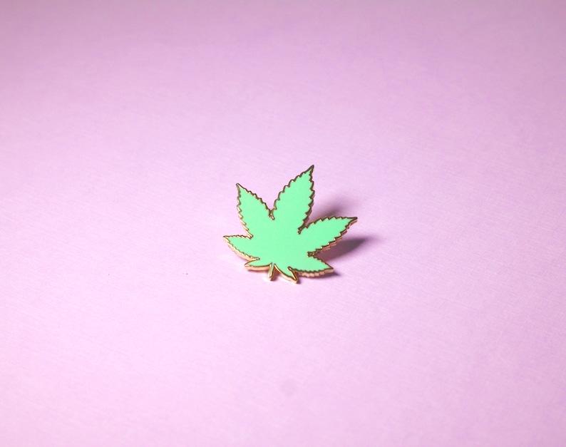 pastel green cannabis 420 enamel pin enamel pins pin image 0