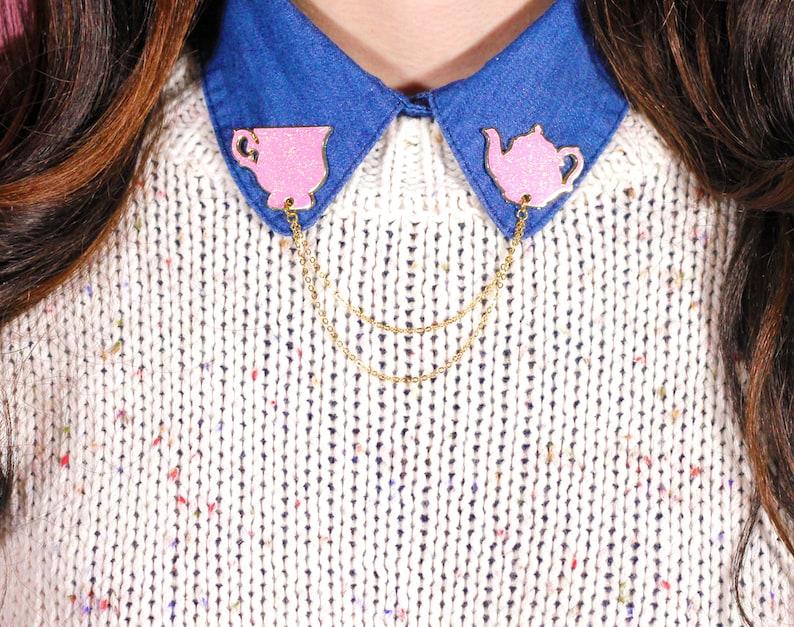 pink teacup marble collar pin collar pins collar chain image 0