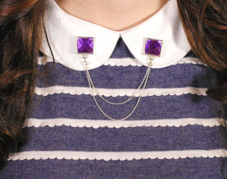 purple gem collar pin collar pins collar chain lapel pin image 0
