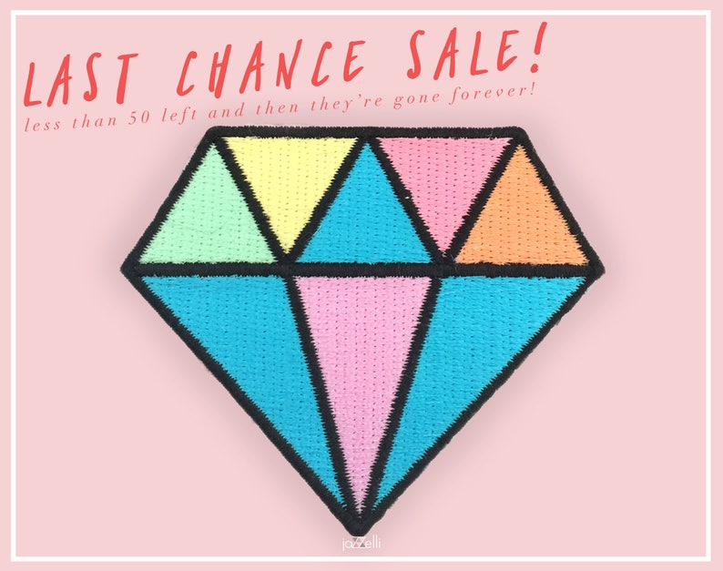 Pastel Diamond Patch Iron-on patches Embroidered Patch image 0