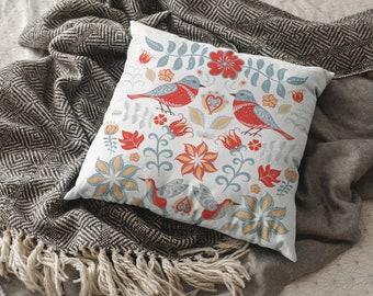 Nautical Decor Anchor Throw Pillow Boho Home Decor Norwegian Swedish Folk Art Fish Botanical Floral Design Decorative Pillow Cushion Cover