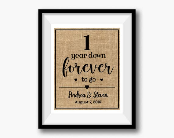1 Year Down Forever to Go 1st First Wedding Anniversary | Etsy
