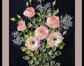To order. Silk ribbon embroidered roses, roses wall hanging, bunch of pink roses, roses on black, silk ribbon embroidery picture