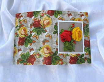 Embroidered floral card, ribbon embroidered card, roses card, embroidered greeting card, greeting flower card, 3D floral card, her gift card