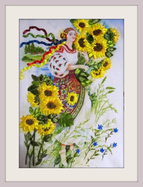 ukrainian folk clothes sunflowers wall art Embroidered sunflowers ribbon embroidered picture embroidered sunflowers Ukrainian girl