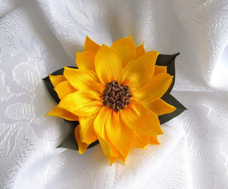 flower dress decoration poppy flower pin and clip Silk satin flower brooch sunflowerf  brooch satin  peony silk flower hair clip
