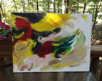 Ollin. Abstract painting signed  Not necessary  frame Acrylic on canvas Gift