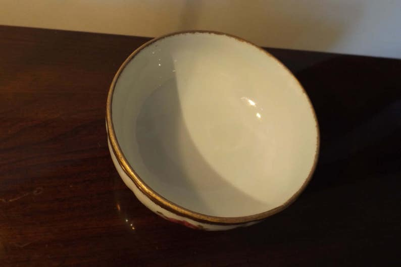 gift idea Delightful iridescent antique footed porcelain candy bowl.Floral roses