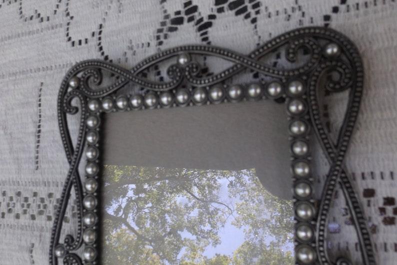 Delightful pewter wMother of Perl rectangular Ornate filigree frame easel back for 4 x 5 34 Gift idea Home decor Horizontal vertical.