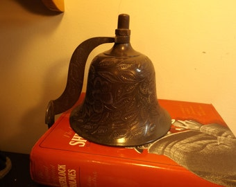 sale RARE Large bronze wall bell Delightful antique large etched bell. Bells of Sarna India, #436T. Great home, office  decor or gift.