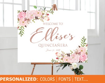 b9878bab5f8 Quinceañera Welcome Sign