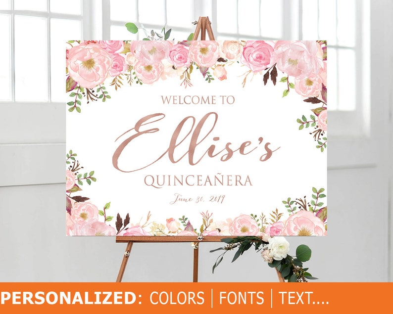 Quinceanera Sign Quinceanera Decorations 15th Birthday Sign Bridal shower sign Quincea\u00f1era Welcome Sign Sweet 16 sign Baby shower sign